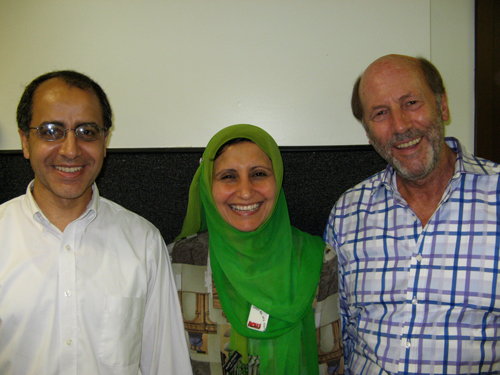 Denis Halliday event at Maxwell School June 2007 (picture at Mosque, Mohamed Khater, Magda Bayoumi and Denis Halliday)