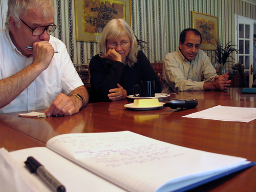 Support Committee on a conference call with Dr. Dhafir's Appeal Lawyer Peter Goldberger, Summer 2006.  Bob Elmendorf, MacGregor Eddy, Mohamed Khater.