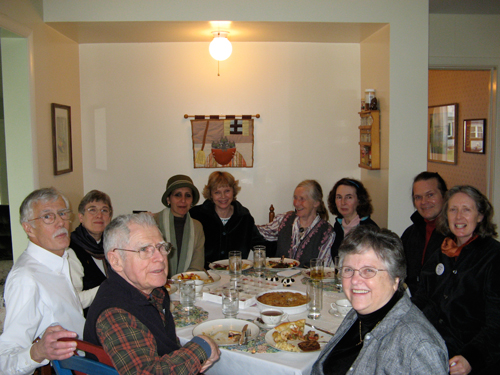 Court Watcher get-together. From front left, l to r, Bob Newman, Gary Bergh, Linda Bergh, Magda Bayoumi, Gay Montague, Julienne Oldfield, Lorraine Deveraux, Madis Senner, Katherine Hughes, Jeanne De Socio.
