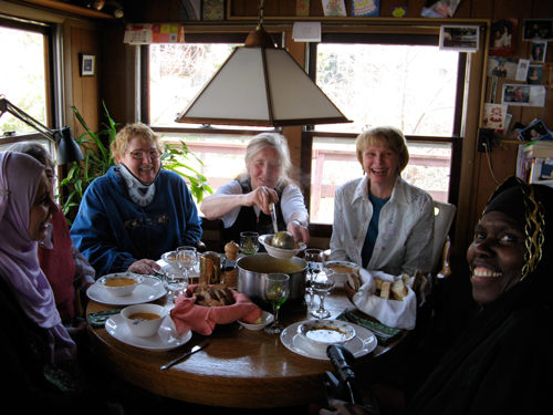 Court Watcher reunion. Left to right: Magda Bayoumi, Linda Bergh, Kathleen Rumpf, Julienne Oldfield, Beatrice Muhammad.