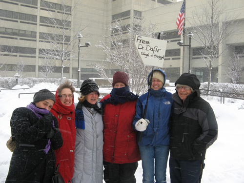 8th Anniversary Vigil, February 26th, 2011. Left to right: Angela Sanin, Linda Bergh, Carol Baum, Donna Muhs-McCarten, Bob Newman.