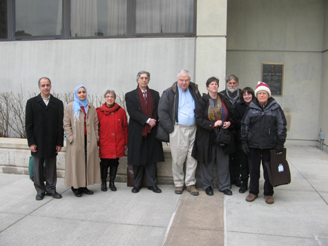 Mohamed Khater, Magda Bayoumi, Linda Bergh, Peter Goldberger, Bob Elmendorf, Barrie Gewanter (ACLU), Max and Susan, and Bob Newman.