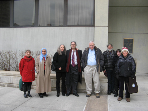 After the resentencing, Linda Bergh, Magda Bayoumi, Katherine Hughes, Peter Goldberger, Bob Elmendorf, Max,  Susan, and Bob Newman